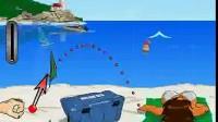 美女沙滩玩球