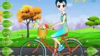 春天骑单车的女孩展示一
