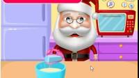 圣诞老人制作蛋糕展示视频